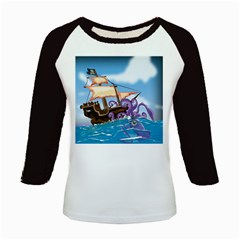 Pirate Ship Attacked By Giant Squid Cartoon  Kids Long Cap Sleeve T Shirt by NickGreenaway