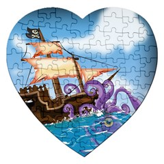 Pirate Ship Attacked By Giant Squid Cartoon  Jigsaw Puzzle (heart) by NickGreenaway