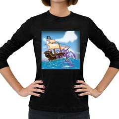 Pirate Ship Attacked By Giant Squid cartoon. Women s Long Sleeve T-shirt (Dark Colored)