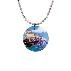 Pirate Ship Attacked By Giant Squid Cartoon  Button Necklace by NickGreenaway