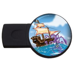 Pirate Ship Attacked By Giant Squid Cartoon  4gb Usb Flash Drive (round) by NickGreenaway