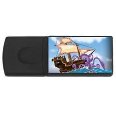 Pirate Ship Attacked By Giant Squid Cartoon  4gb Usb Flash Drive (rectangle) by NickGreenaway