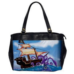 Pirate Ship Attacked By Giant Squid Cartoon  Oversize Office Handbag (one Side) by NickGreenaway
