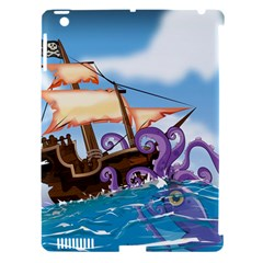 Pirate Ship Attacked By Giant Squid Cartoon  Apple Ipad 3/4 Hardshell Case (compatible With Smart Cover) by NickGreenaway