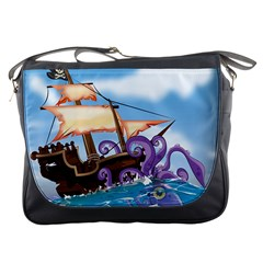Pirate Ship Attacked By Giant Squid Cartoon  Messenger Bag by NickGreenaway