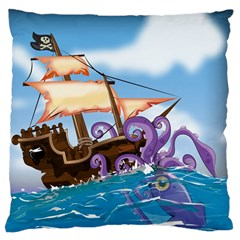 Pirate Ship Attacked By Giant Squid Cartoon  Large Cushion Case (two Sided)  by NickGreenaway