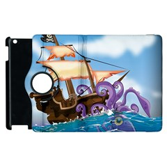 Pirate Ship Attacked By Giant Squid Cartoon  Apple Ipad 3/4 Flip 360 Case by NickGreenaway