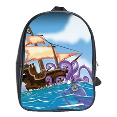 Pirate Ship Attacked By Giant Squid Cartoon  School Bag (xl) by NickGreenaway