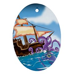Pirate Ship Attacked By Giant Squid Cartoon  Oval Ornament by NickGreenaway