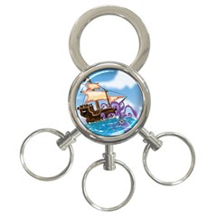 Pirate Ship Attacked By Giant Squid Cartoon  3 Ring Key Chain by NickGreenaway