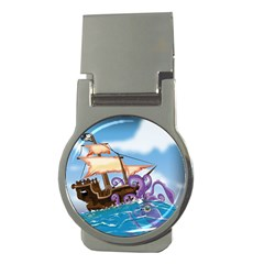 Pirate Ship Attacked By Giant Squid Cartoon  Money Clip (round) by NickGreenaway