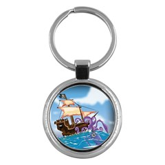 Pirate Ship Attacked By Giant Squid Cartoon  Key Chain (round) by NickGreenaway