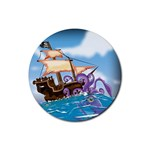 Pirate Ship Attacked By Giant Squid cartoon. Drink Coaster (Round) Front