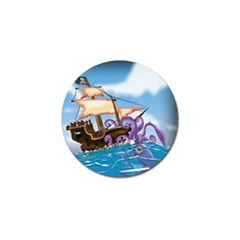Pirate Ship Attacked By Giant Squid Cartoon  Golf Ball Marker 4 Pack by NickGreenaway