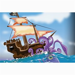 Pirate Ship Attacked By Giant Squid Cartoon  Canvas 12  X 18  (unframed) by NickGreenaway