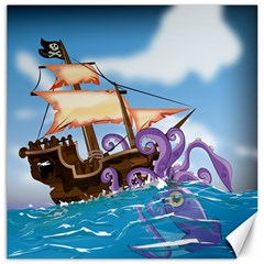 Pirate Ship Attacked By Giant Squid Cartoon  Canvas 20  X 20  (unframed) by NickGreenaway