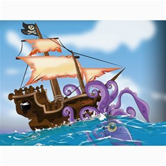 Pirate Ship Attacked By Giant Squid Cartoon  Canvas 36  X 48  (unframed) by NickGreenaway