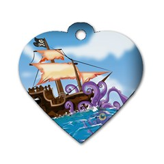 Pirate Ship Attacked By Giant Squid cartoon. Dog Tag Heart (Two Sided) by NickGreenaway