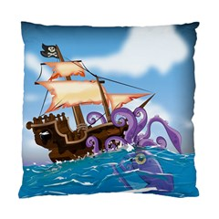Pirate Ship Attacked By Giant Squid Cartoon  Cushion Case (single Sided)  by NickGreenaway