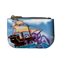 Pirate Ship Attacked By Giant Squid Cartoon  Coin Change Purse by NickGreenaway