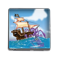 Pirate Ship Attacked By Giant Squid Cartoon  Memory Card Reader With Storage (square) by NickGreenaway