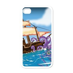Pirate Ship Attacked By Giant Squid Cartoon  Apple Iphone 4 Case (white) by NickGreenaway