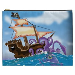 Pirate Ship Attacked By Giant Squid cartoon. Cosmetic Bag (XXXL) by NickGreenaway