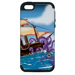 Pirate Ship Attacked By Giant Squid Cartoon  Apple Iphone 5 Hardshell Case (pc+silicone) by NickGreenaway