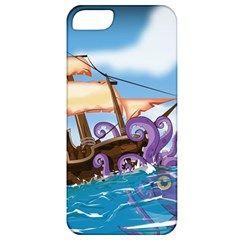 Pirate Ship Attacked By Giant Squid Cartoon  Apple Iphone 5 Classic Hardshell Case by NickGreenaway