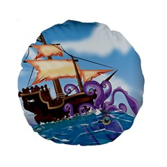 Pirate Ship Attacked By Giant Squid Cartoon  15  Premium Round Cushion  by NickGreenaway