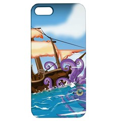 Pirate Ship Attacked By Giant Squid Cartoon  Apple Iphone 5 Hardshell Case With Stand by NickGreenaway