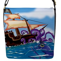 Pirate Ship Attacked By Giant Squid Cartoon  Removable Flap Cover (small) by NickGreenaway