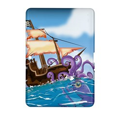 Pirate Ship Attacked By Giant Squid cartoon. Samsung Galaxy Tab 2 (10.1 ) P5100 Hardshell Case