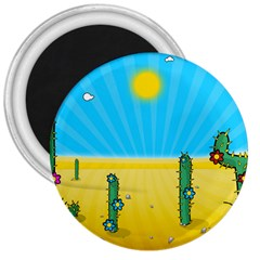 Cactus 3  Button Magnet by NickGreenaway