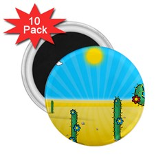 Cactus 2 25  Button Magnet (10 Pack) by NickGreenaway