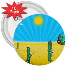 Cactus 3  Button (10 Pack) by NickGreenaway