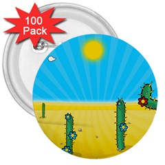 Cactus 3  Button (100 Pack) by NickGreenaway
