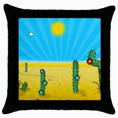 Cactus Black Throw Pillow Case by NickGreenaway
