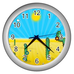 Cactus Wall Clock (silver) by NickGreenaway
