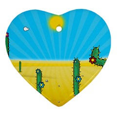 Cactus Heart Ornament (two Sides) by NickGreenaway
