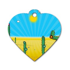 Cactus Dog Tag Heart (two Sided) by NickGreenaway