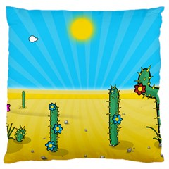Cactus Large Cushion Case (two Sided)  by NickGreenaway