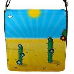 Cactus Flap Closure Messenger Bag (small) by NickGreenaway