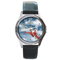 America Jet Fighter Air Force Round Leather Watch (silver Rim) by NickGreenaway