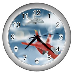 America Jet Fighter Air Force Wall Clock (silver) by NickGreenaway