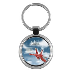 America Jet Fighter Air Force Key Chain (round) by NickGreenaway