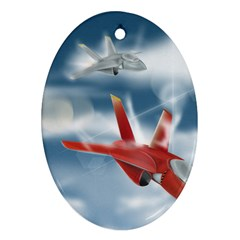 America Jet Fighter Air Force Oval Ornament (two Sides) by NickGreenaway