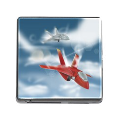 America Jet Fighter Air Force Memory Card Reader With Storage (square) by NickGreenaway
