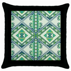 Green Pattern 2 Black Throw Pillow Case