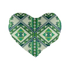 Green Pattern 2 16  Premium Heart Shape Cushion